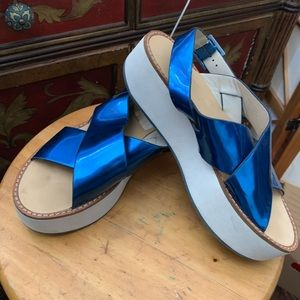Aldo holographic Royalblue thick wedged Sandles